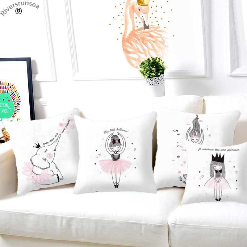 Home Nordic Style Kids Decoration Pink Pillow Kawaii Cartoon Animal Deer Bear Rabbit Simple Illustration Unicorn Baby Cushion