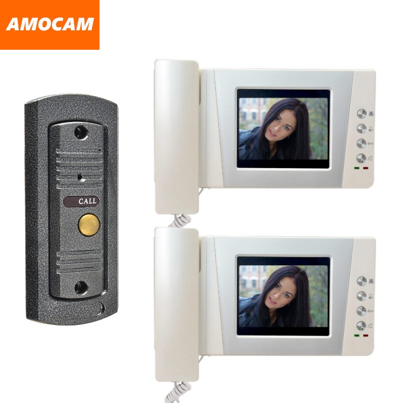 4.3 LCD monitor video doorbell door phone system video interphone kits IR Night Vision pinhole Camera video intercom 2-Screen