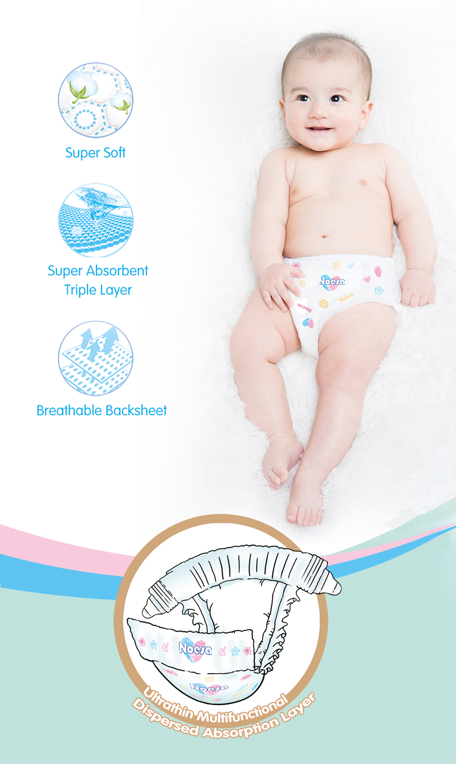 NOESA NDS 82 Disposable Baby Diapers Size 1 82Count Alive Diapers No Side Leakage from Thigh Slim Soft for 4 8kg Small in Baby Nappies from Mother Kids