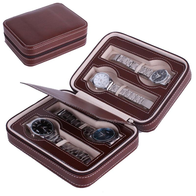 2 szín Zippered Sport Storage Watch 4 Case Organizer bőr karóra - Szervezés és tárolás