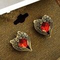 ER177 Hot Moda Retro Asas do Anjo Do Coração Do Pêssego Do Vintage Semi-Pedras preciosas Cristal Vermelho Do Parafuso Prisioneiro Para As Mulheres Jóias presente