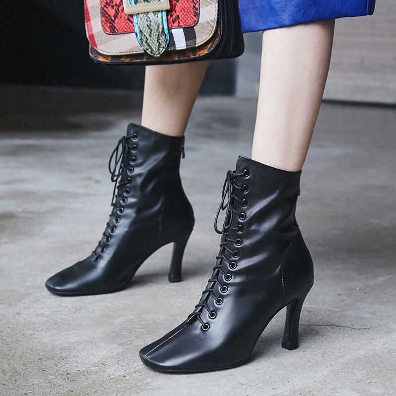 Prova Perfetto botki dla kobiet buty zimowe wysokie obcasy buty prawdziwe skórzane Botas wiązane na krzyż kwadratowe Toe buty buty damskie w Buty do kostki od Buty na  Grupa 3