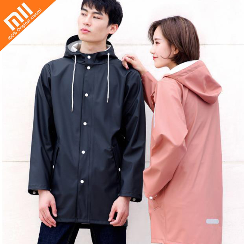 xiaomi mijia qihao urban raincoat jacket men and women couple raincoat green PU waterproof windbreaker models