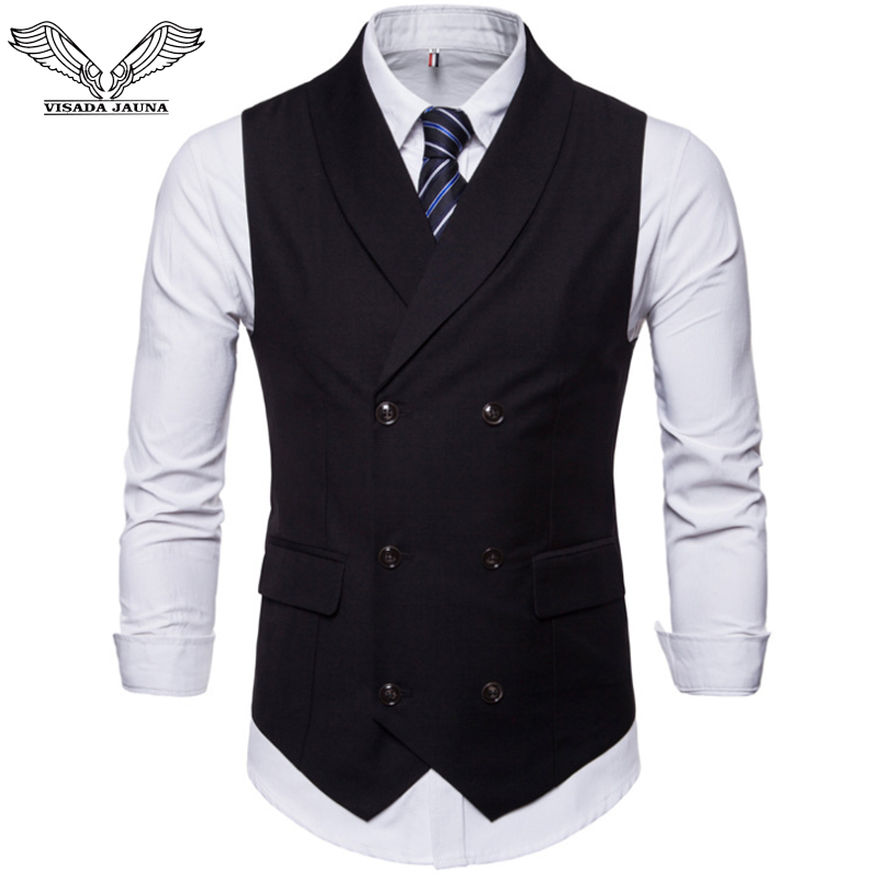 VISADA JAUNA Spring Autumn Double Breasted Suit Vest Men's Sleeveless Four-Colored England Style Foramal Weeding Vest N9034