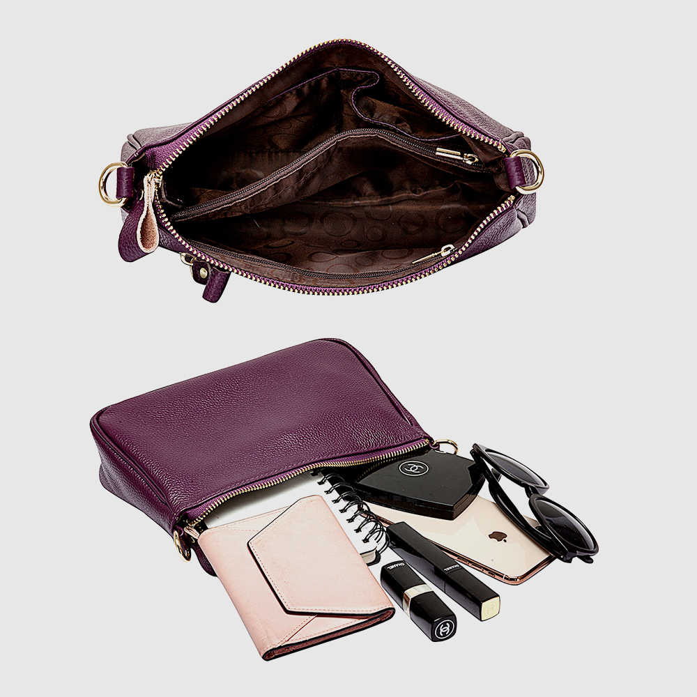 Zency Roxo Elegante Mulheres Hobos Bolsa de Ombro 100% Bolsa do Couro Genuíno Preto Da Senhora Da Forma saco do Mensageiro Bolsa Crossbody Pequeno