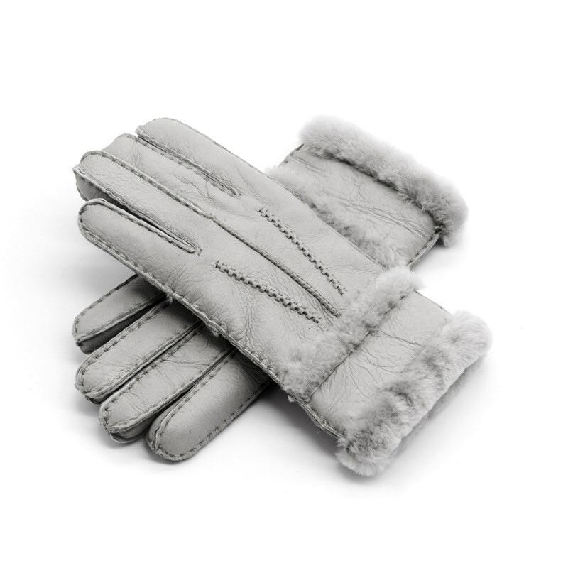 100% Pure Sheepskin Winter Gloves Women Real Sheepskin Cashmere Fur Warm Gloves Ladies Full Finger Genuine Leather Mitten Gloves