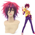 Free shipping Sora NO GAME NO LIFE Rose Red and Purple Mix Short Cosplay Wig