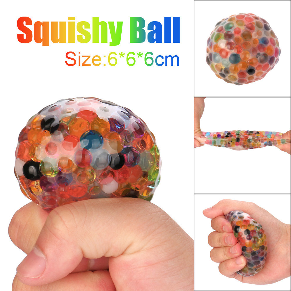 Spongy Rainbow Ball Toy Squeezable Stress Squishy Toy Reduce Stress Ball