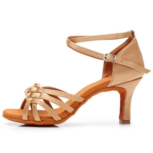New Women's Latin Dance Shoes Ballroom Tango Ladies Girls Comfortable Satin Dancing Shoes For Women Grils Red White 5/7CM Heel 1