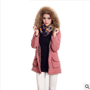 2015 new Hooded winter long section of European and American style cotton padded cotton jacket collar Slim wool coat female 2014 winter new top 90 european stations velvet waist slim flouncing long section of a large swing down
