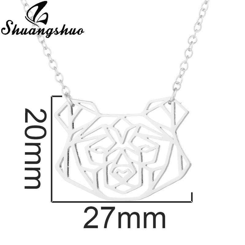 Shuangshuo srebrny łańcuch długi naszyjnik dla kobiet Collares Cute Animal Dog wisiorki naszyjniki Chokers ze stali nierdzewnej biżuteria moda