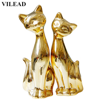 VILEAD 8.3'' Ceramic Gold Plating Cat Figurines 2pcs/Set Rose Gold Cats Ornament Decoration Animal Model Statue for Home Decor