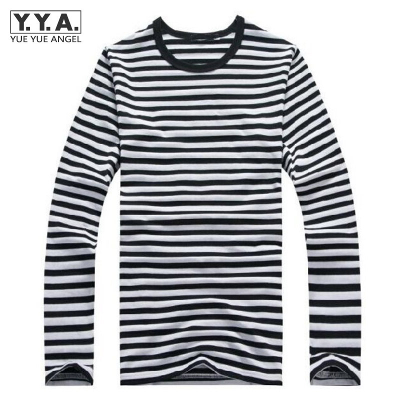 New Mens Striped Military Casual Shirts Long Sleeve Navy Boys Tops T-Shirts Classic Cotton T shirt Men O-Neck Mens Tops Shirts