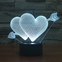 4pcs Lot Color Change Cupid The Arrow Of Love 3D Acrylic LED Night Light USB