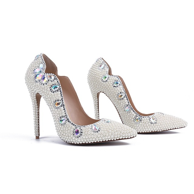 Delightful Bling White Pearls Women Wedding Shoes Thin High Heels Sexy Bridal Shoes  Pointed Toes Genuine Leather