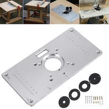 Placa de mesa do roteador 700c placa de inserção de mesa de alumínio + 4 anéis parafusos para bancos de madeira, 235mm x 120mm x 8mm(9.3in