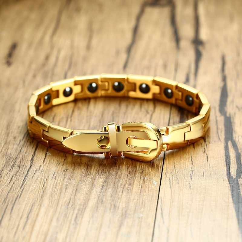 Men's Bio Hematite Magnetic Bracelet in Gold Silver with Adjustable Belt Clasp Bangle Braslet for Men Women Jewelry Pulseira