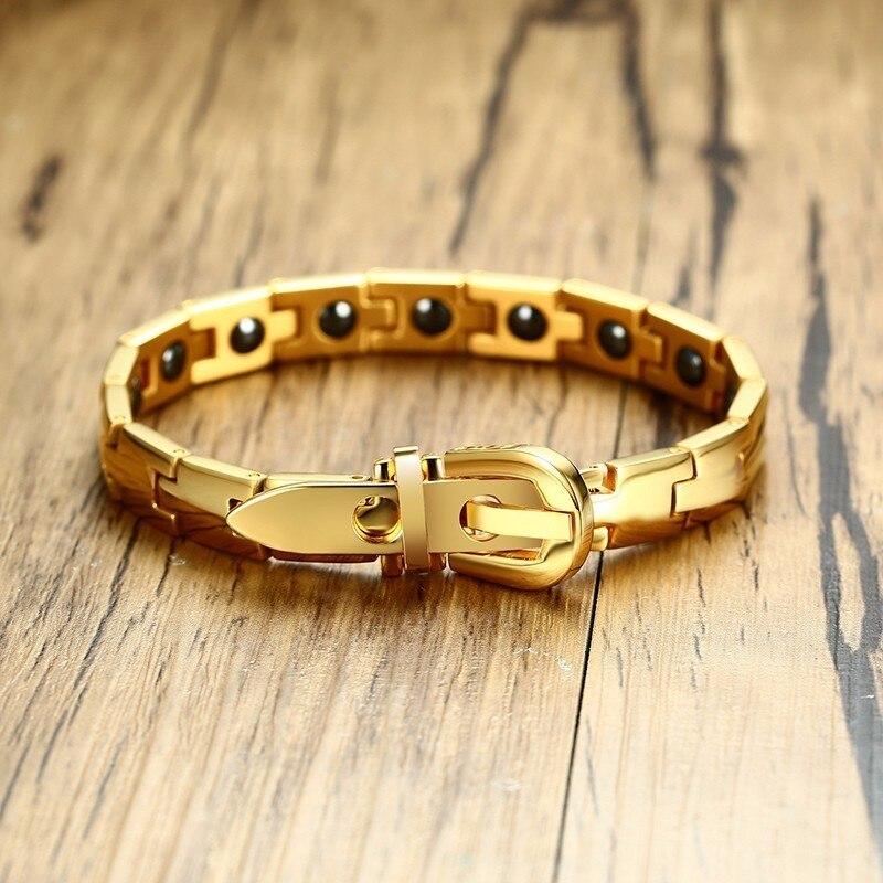Mens Bio Hematite Magnetic Bracelet in Gold Silver with Adjustable Belt Clasp Bangle Braslet for Men Women Jewelry Pulseira