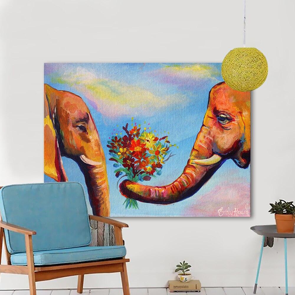 HDARTISAN Wand Kunst Bilder Für Wohnzimmer Bunte Elefant Paar Blumen ...