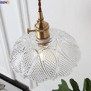 Image 5 - Iwhd 북유럽 구리 유리 펜 던 트 전등 설비 침실 거실 로프트 펜 던 트 조명 매달려 램프 luminaire 조명