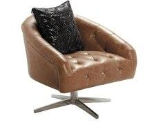 Cuero de vaca genuino silla / cuero real / ocio / silla de sala de estar muebles para el hogar silla giratoria con patas de acero inoxidable