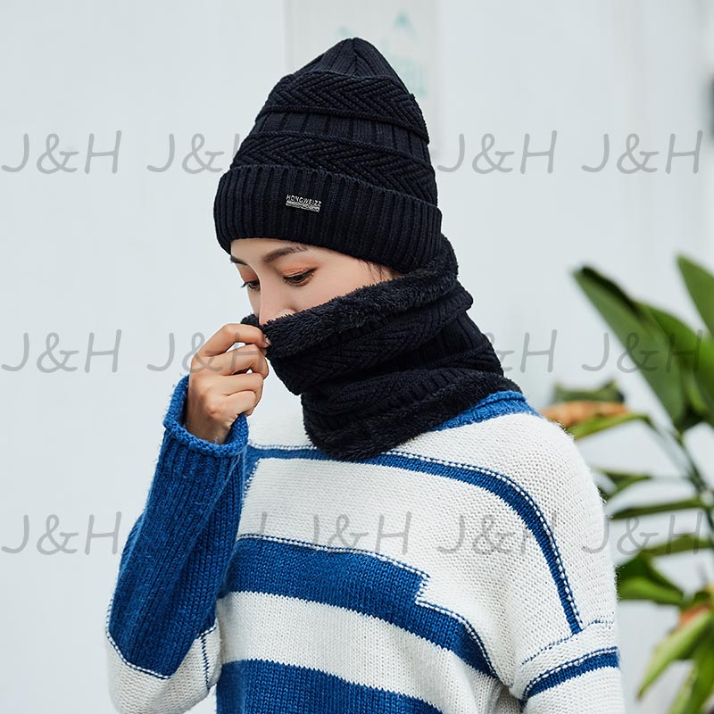 6893d607672 2018 Women Beanies Knit Hat Winter Cap For Man Neck Warmer Thicken Hedging  Balaclava Scarf Skullies Hats Sets Gift-in Scarf