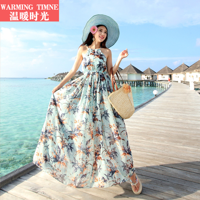 745f4aa5aa Time full dress beach bohemia dress travel chiffon one-piece dress floral  print full dress