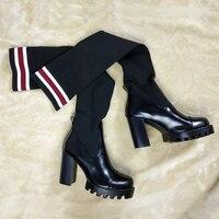 Модные фабричные стрейч и кожи Для женщин пикантные сапоги на платформе очень высокий каблук выше сапоги Эффектная вечерняя Обувь tenis feminino