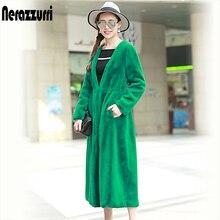 Nerazzurri Faux Fur Coat Women High quality Deep V Neck Outwear Extra Long Pleated Slim Elegant Green Fake Rabbit Fur overcoat