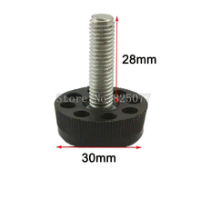 Black M8x28mm Screw 20 PCS M8 Screw , 30mm Base Adjustable Furniture Leg Table Leveling Feet Pad CP495