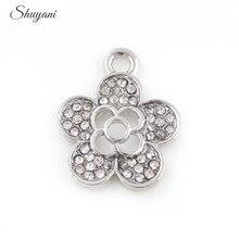 20PCS Fashion Silver Rhinestone Crystal Flower Charms Pendant Zinc Alloy Jewelry Findings Accessories 17*21mm цена 2017