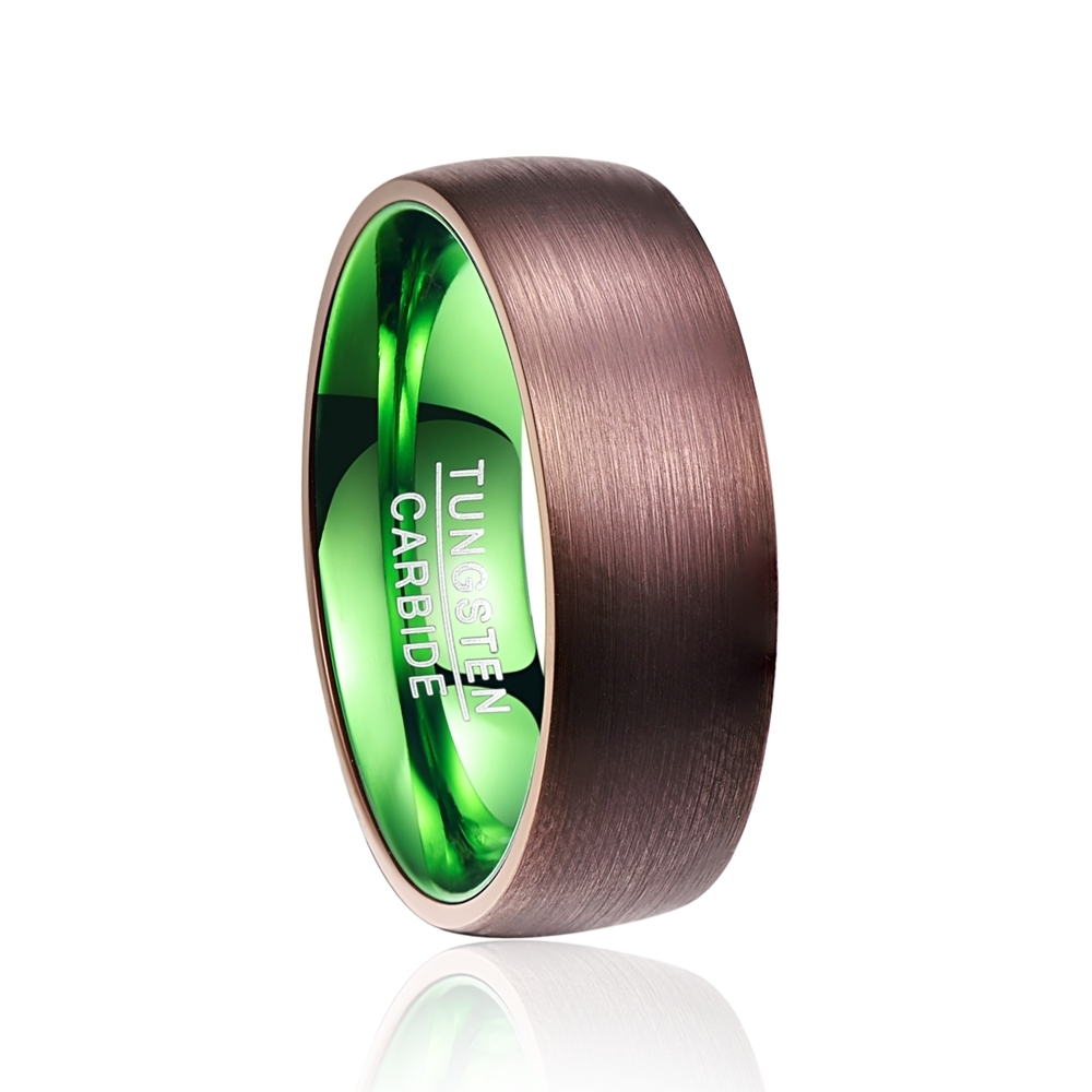 Hot Sale plated brown green dome tungsten carbide ring Fashion Retro Engagement Ring Jewelry for man Valentine's Day Deals image
