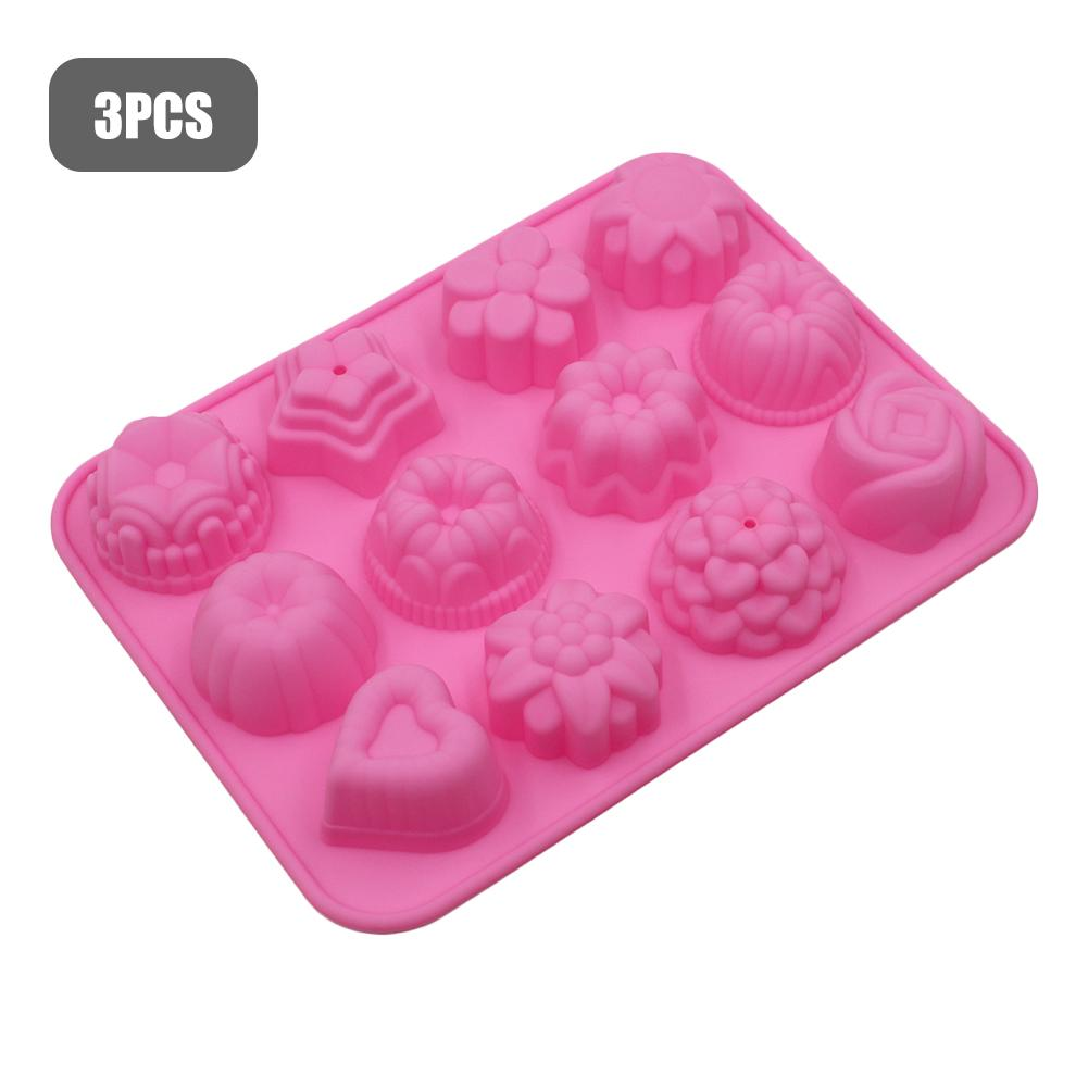 3PCS Pattern Silicone Mold 12-slot Ice Cream Cloth Mould DIY Cooking Tools Oven Accessories Cake Biscuit Dessert Baking Mold(China)