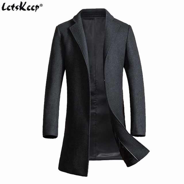 Letskeep Winter Woolen Long Overcoat Men Warm Wool & Blends ...