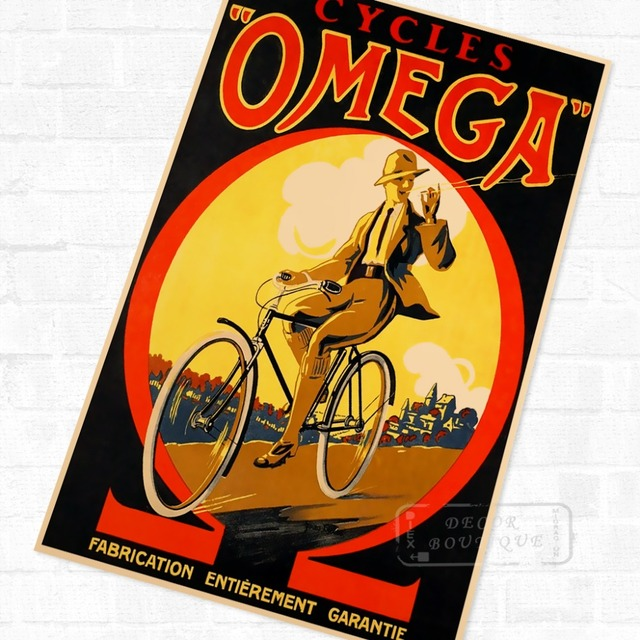 Cigar Bicycle Bike Relax Ride Vintage Retro Kraft Poster Decorative ...