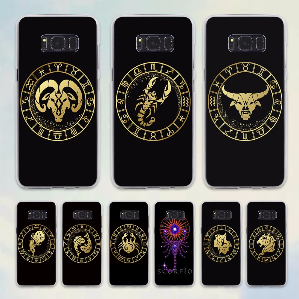 Zodiac Signs design hard transparent Case for Samsung Galaxy S6 S7 edge S8 Plus s5 note 5 4