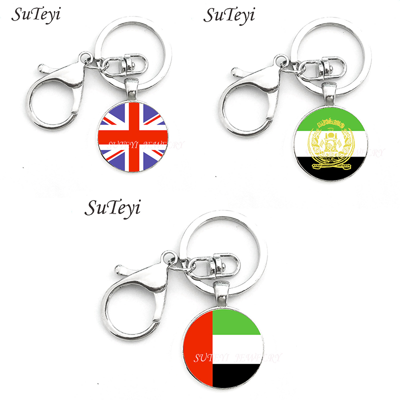 Fashion Flag keychain vintage flag Britain and <font><b>Afghanistan</b></font> and the United Arab Emirates jewelry good quality handmade key chains image