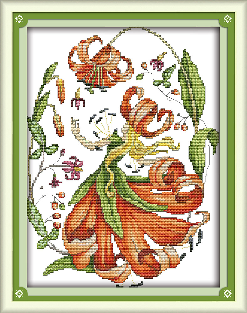 September Flowers Chart Counted Cross Stitch Patterns Needlework DIY DMC Color