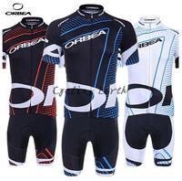 3D Silicone! Orbea 2014 red & blue & white breve manicotto che cicla bib fissati bici indossare abiti pantaloni in jersey gel pad