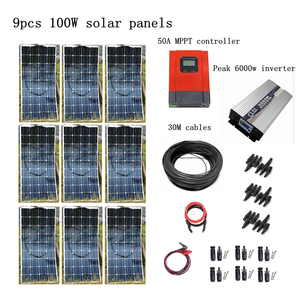 9pcs Mono 100w Solar Modules with Pure Sine 4000W Inverter and MPPT 50A Controller House Use Off Grid Solar Power System dc house usa uk stock 300w off grid solar system kits new 100w solar module 12v home 20a controller 1000w inverter