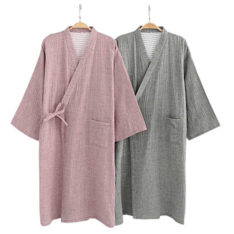Spring 100% crape cotton kimono robes men simple male bathrobes long sleeve  SPA casual Washed 02da79134