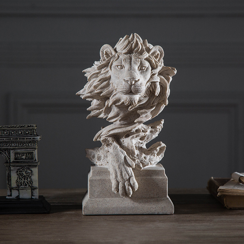 Retro Abstraction Sandstone Statue Animals Eagle Species Lion Horse Dog Wolf Pig Bust Continental Decoration Resin Artware L1758 a pair chinese cloisonne copper statue lion foo dog nr