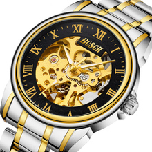 Top Brand Luxury Golden Men Automatic Watch Mechanical Skeleton Black Watch Casual Business Stainless Steel Wristwatch Clock все цены
