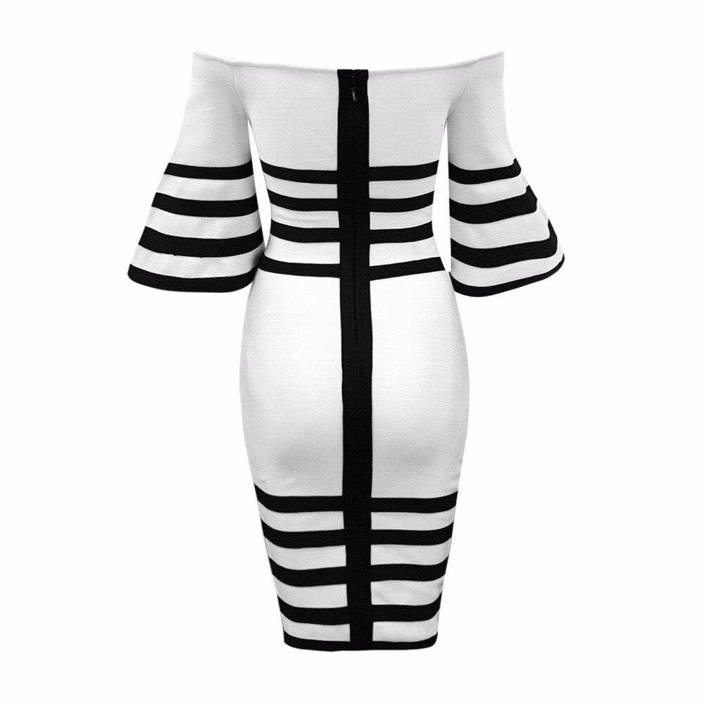 Robe Bandage De Flare 38 Manches Sexy Noir Élégante Rayé Z Party Celebrity Printemps Mode Rayonne L'épaule Femmes CvwFqfw