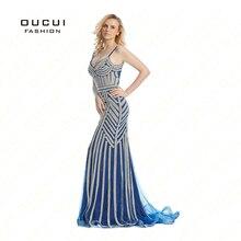 Реальные фотографии Тюль Кристалл Королевский Голубой цвет вечерние случаю Формальное длинное вечернее платье OL102829