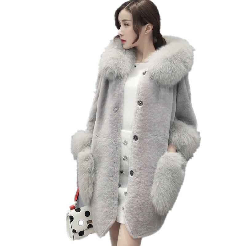 Veste 4xl Pardessus En S Manteau D'hiver Femme Faux Rouge Capuchon À Fourrure Col De Furry 2018 Hiver Fausse Femmes Haute gris qUawAZ1