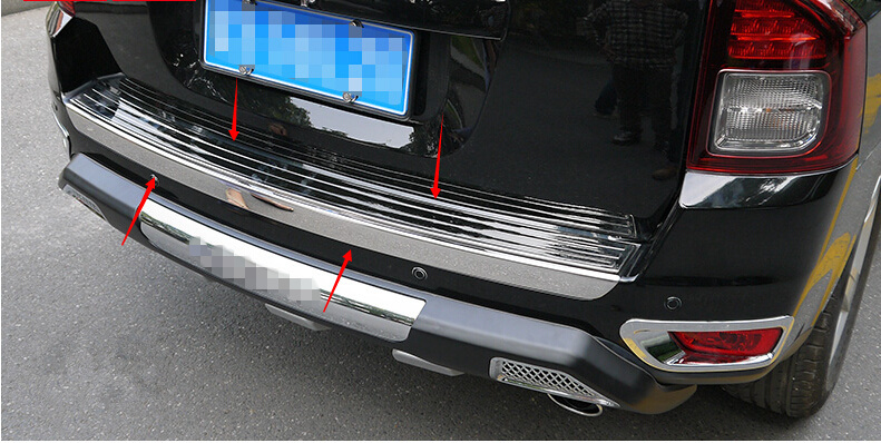 2 Pieces/ set Stainless steel Rear Outer Bumper Protector Guard Plate+ Inner Bumper Sill Cover 2pcs For Jeep Patriot 2011-2015 set j40 black steel different trail front bumper w winch plate