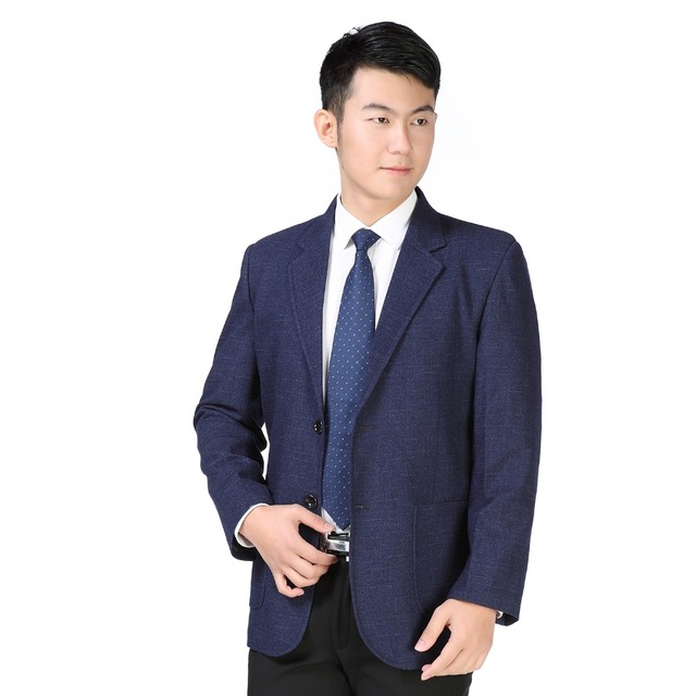 WAEOLSA Chinese Men Business Casual Blazer Red Blue Plain Suit Jacket Man Spring Autumn Blazer Male Classical Costume Blazer 3XL