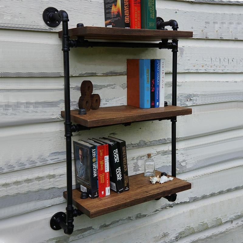 loft art vintage wood wall mount shelf separators american antique wrought iron wall shelf bookshelf cheap loft furniture