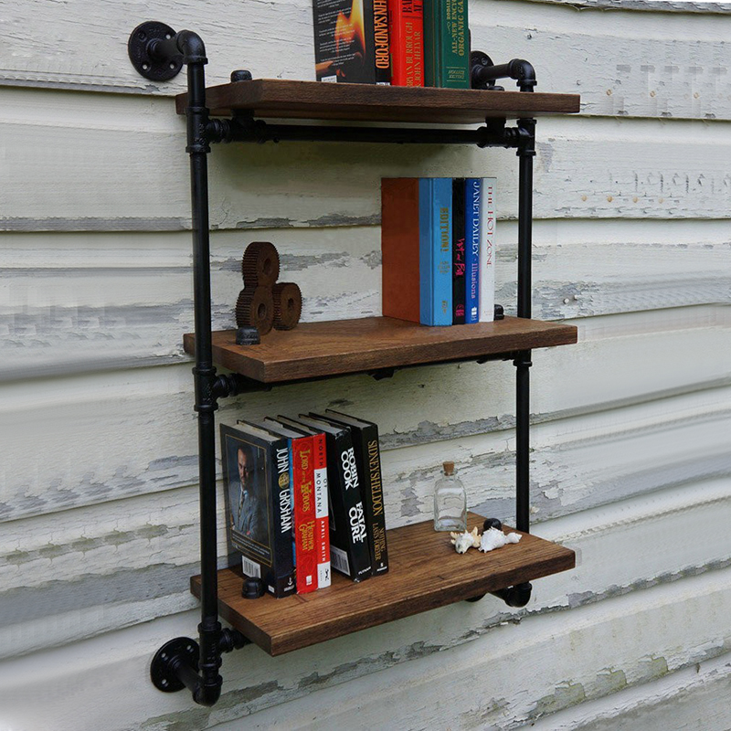 loft art vintage wood wall mount shelf separators american antique wrought iron wall shelf. Black Bedroom Furniture Sets. Home Design Ideas